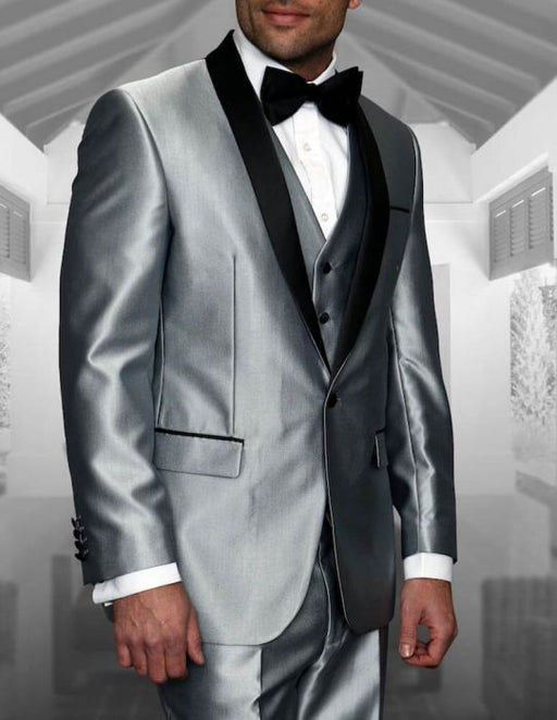 Statement Men's Silver Tuxedo with Shawl Black Lapel