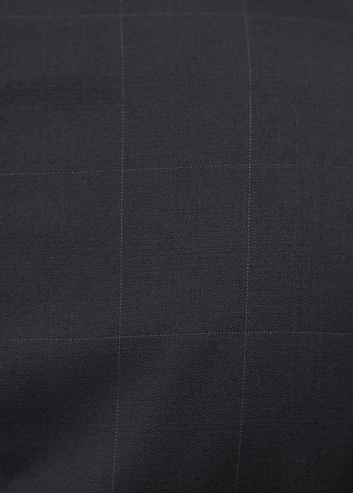100% Wool Black Windowpane Modern Fit Suit by 132