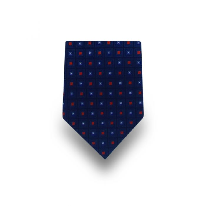 Men's Dark Blue with Red & Blue Squares Microfiber Tie