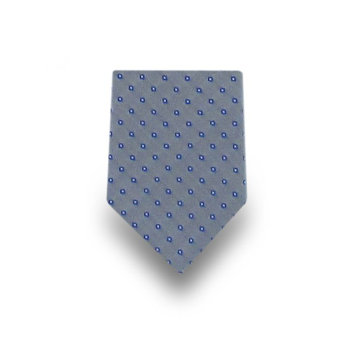 Men's Grey with Blue & White Pattern Microfiber Tie