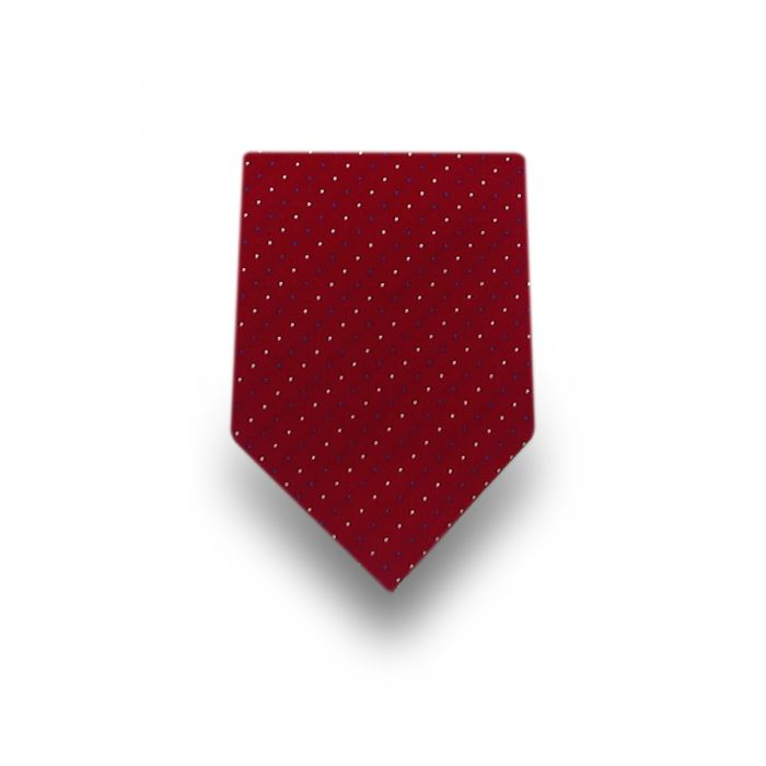 Men's Red with White & Blue Dots Microfiber Tie