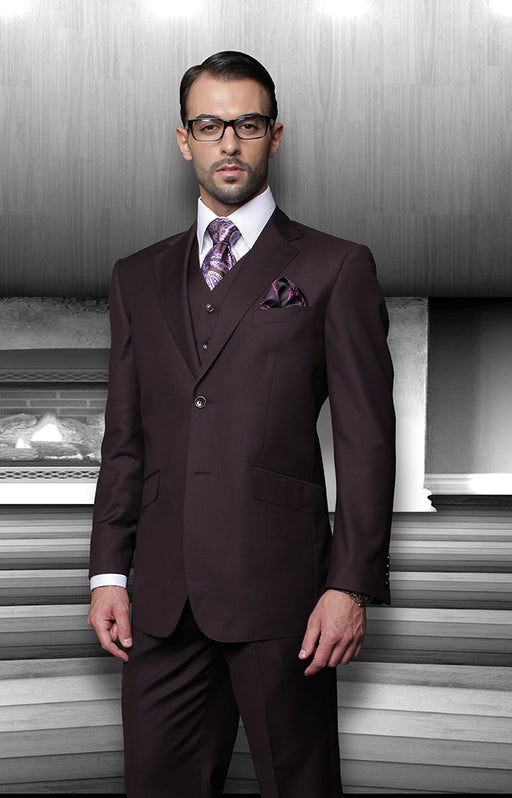 Statement Men's Plum Vested 100% Wool Modern Fit Suit