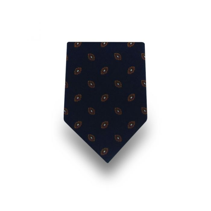 Men's Navy with Brown Pattern Microfiber Tie
