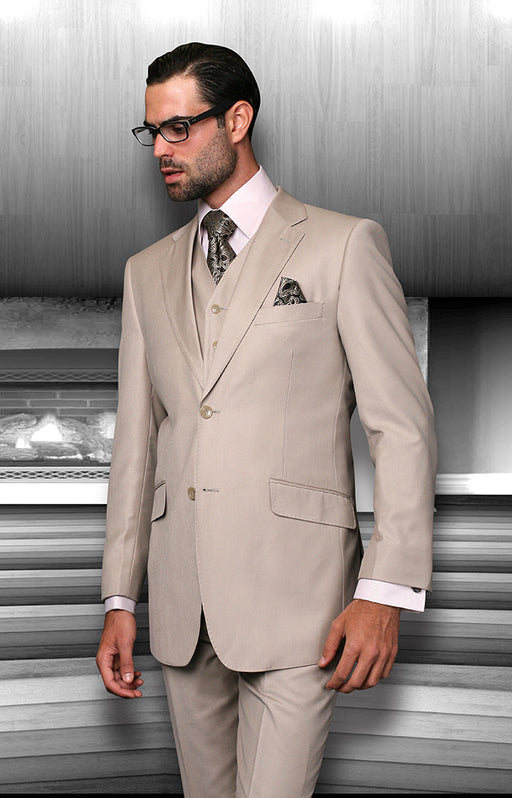 Statement Men's Sand Vested 100% Wool Modern Fit Suit