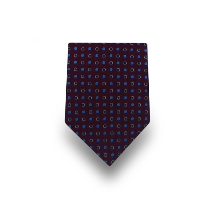 Men's Brown with Blue & White Dots Microfiber Tie