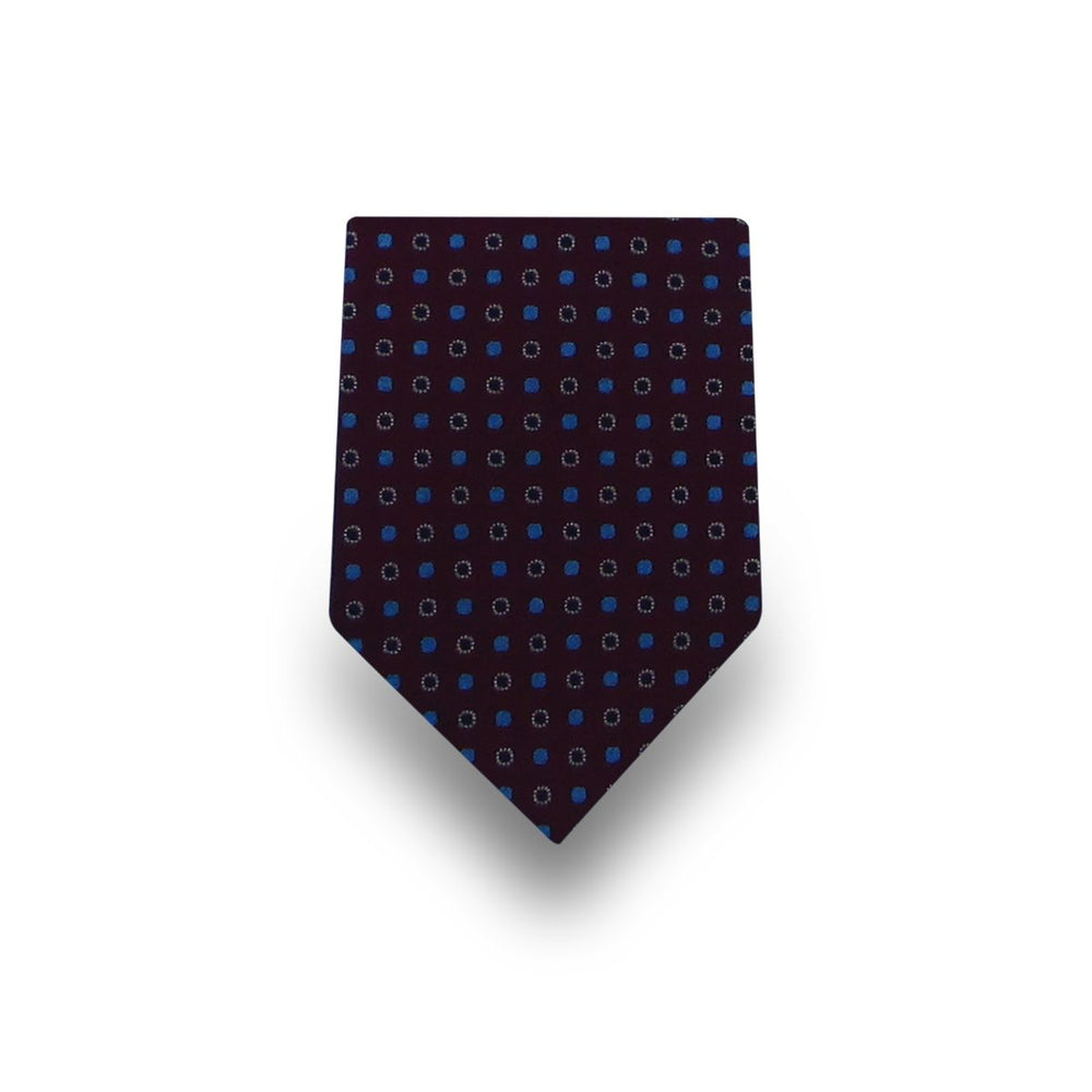 Men's Brown with Blue & Black Dotted 100% Silk Tie