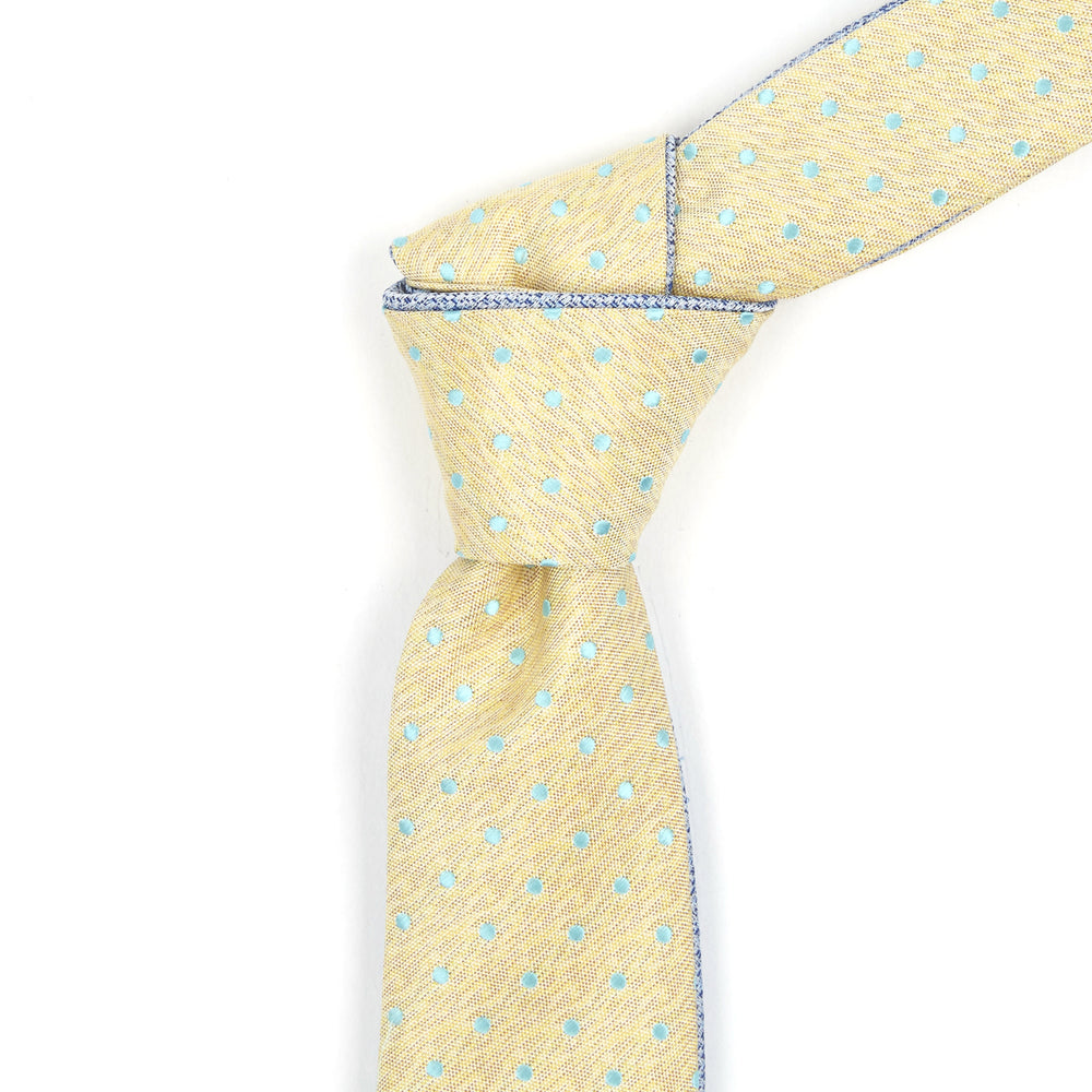 Yellow & Dotted Teal Reversible Tie