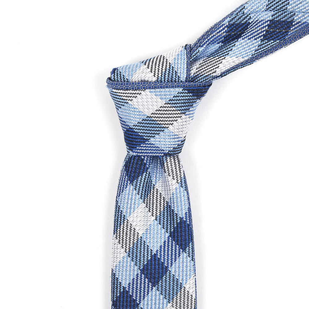 Multi-Colored Blue & White Checkered Reversible Tie
