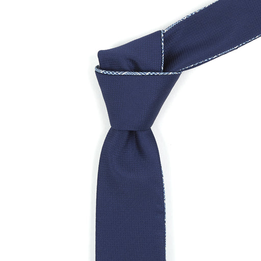 Navy & White Micro-Plaid Reversible Tie