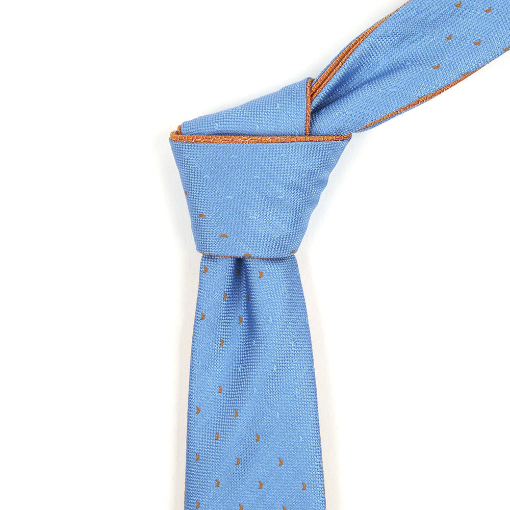 Powder Blue & Orange Patterned Reversible Tie