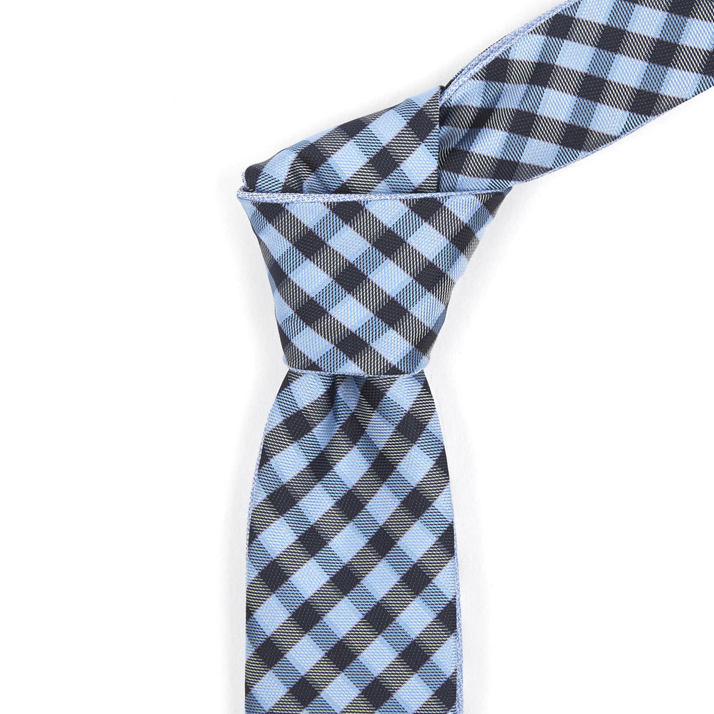 Powder Blue & Black Checkered Reversible Tie