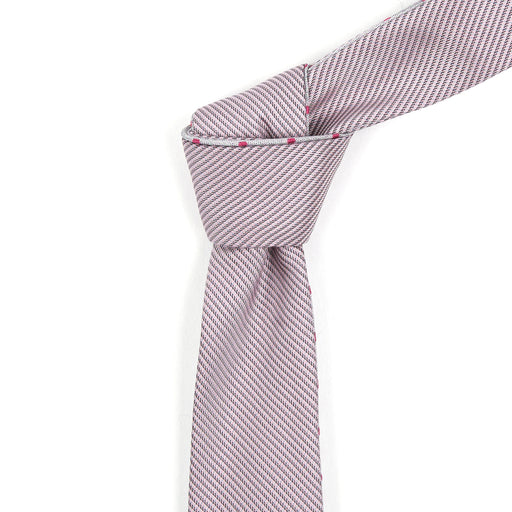 Cloud Grey with Magenta Polka Dot Reversible Tie