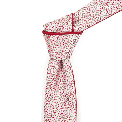 Ruby Red & Mint Floral Reversible Tie