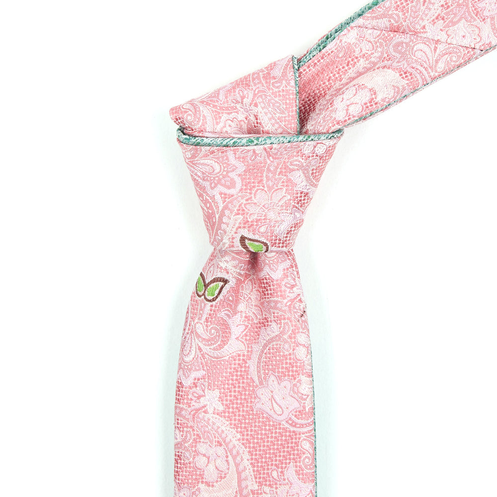 Salmon and Celery Paisley Reversible Tie