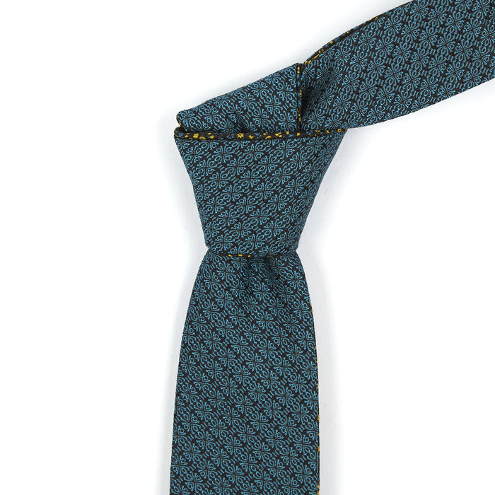 Teal & Sunshine Yellow Floral Reversible Tie