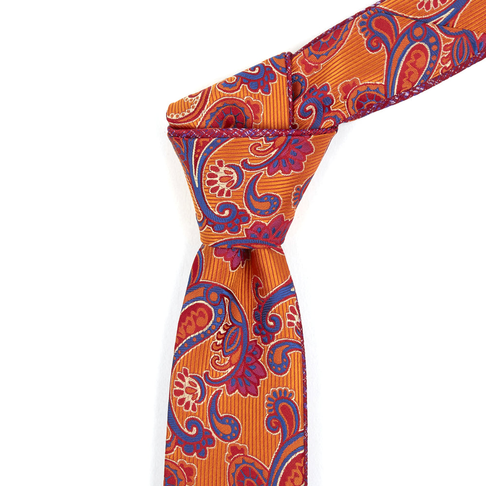 Orange, Purple & Fushia Floral Reversible Tie