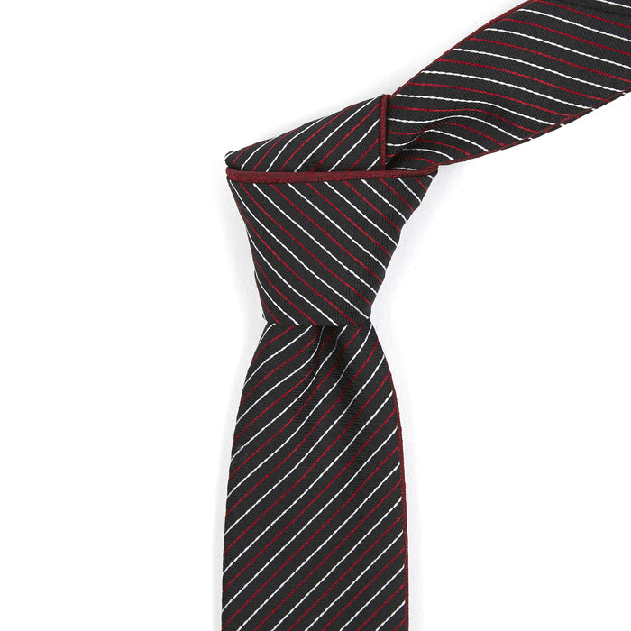 Black With Red & White Striped Reversible Tie