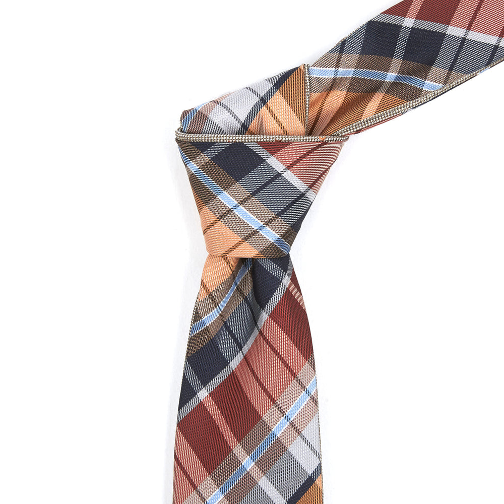 Orange Multi-Colored Plaid Reversible Tie