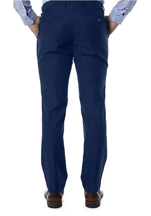 Blue Trim Fit Dress Pants