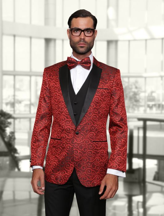 Statement Men's Red Patterned Tuxedo with Black Lapel