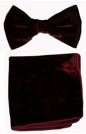 Burgundy Velvet Bowtie and Hanky
