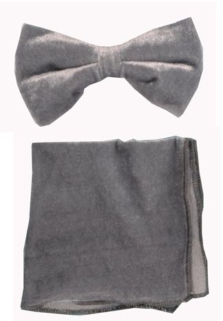 Gray Velvet Bowtie and Hanky