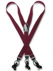 Men's Burgundy Suspenders | Elastic Button and Clip Convertable