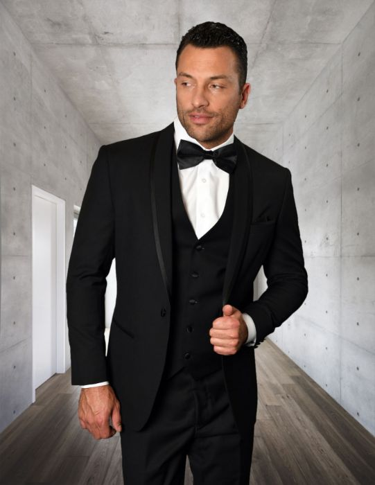Statement Men's Black Tuxedo with Fine Black Lapel