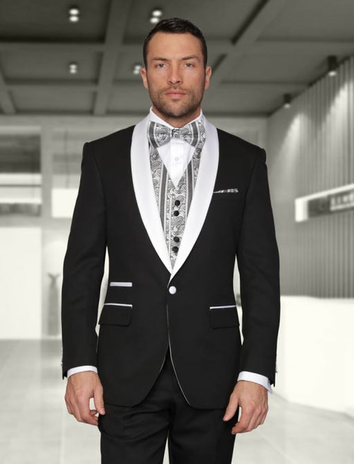 Statement Men's Black Patterned Tuxedo with White Lapel