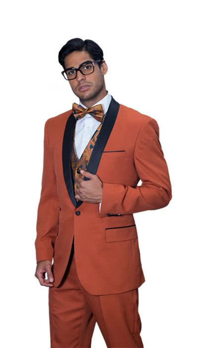 Statement Men's Brick Tuxedo with Black Lapel