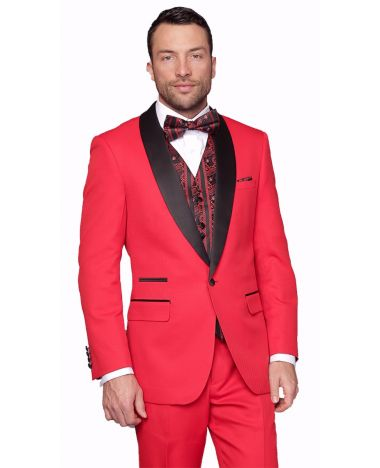 Statement Men's Red Tuxedo with Black Lapel