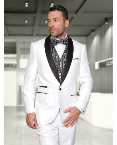 Statement Men's White Patterned Tuxedo with Black Satin Lapel