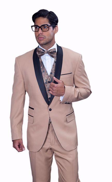Statement Men's Camel Tuxedo with Black Lapel