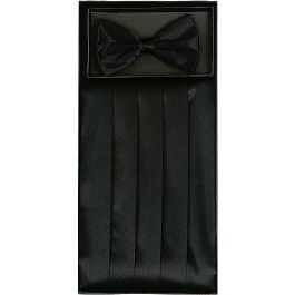 Men's Silk Black Cummerbund & Bowtie Set