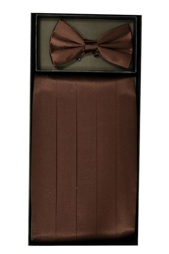 Men's Silk Brown Cummerbund & Bowtie Set