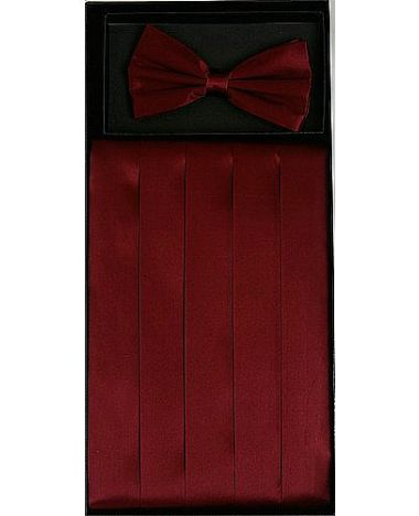 Men's Silk Burgundy Cummerbund & Bowtie Set