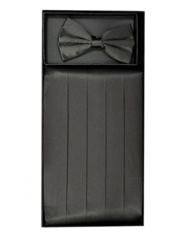 Men's Silk Charcoal Cummerbund & Bowtie Set