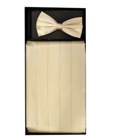 Men's Silk Cream Cummerbund & Bowtie Set