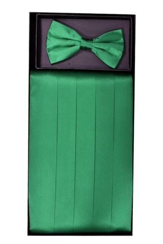 Men's Silk Emerald Cummerbund & Bowtie Set