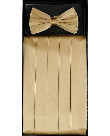 Men's Silk Gold Cummerbund & Bowtie Set
