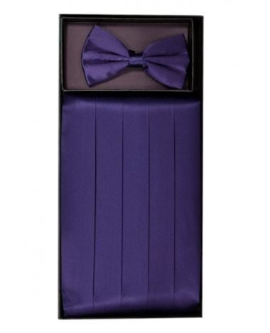 Men's Silk Grape Cummerbund & Bowtie Set