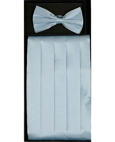 Men's Silk Light Blue Cummerbund & Bowtie Set
