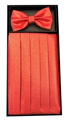 Men's Metallic Red Cummerbund & Bowtie Set