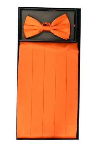Men's Silk Orange Cummerbund & Bowtie Set