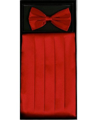 Men's Silk Red Cummerbund & Bowtie Set