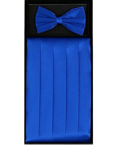 Men's Silk Royal Blue Cummerbund & Bowtie Set