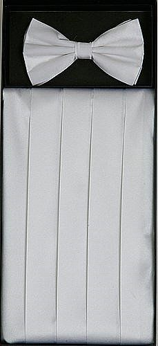 Men's Silk White Cummerbund & Bowtie Set