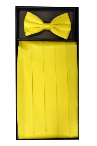 Men's Silk Yellow Cummerbund & Bowtie Set