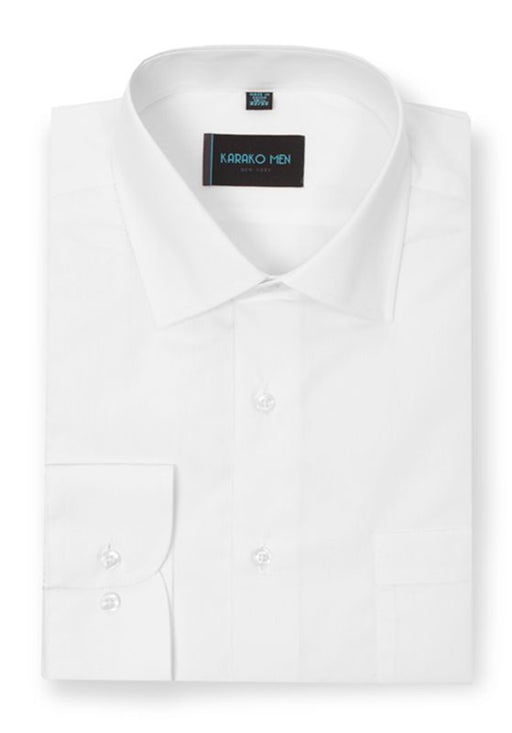 Karako Men White Modern Fit Dress Shirt