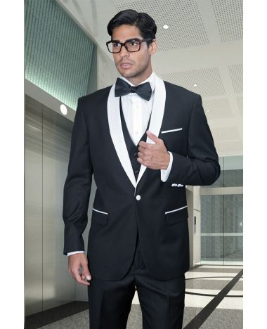 Statement Men's Black Tuxedo with White Satin Lapel
